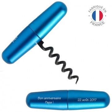 Tire-bouchon gravé Lance bleu